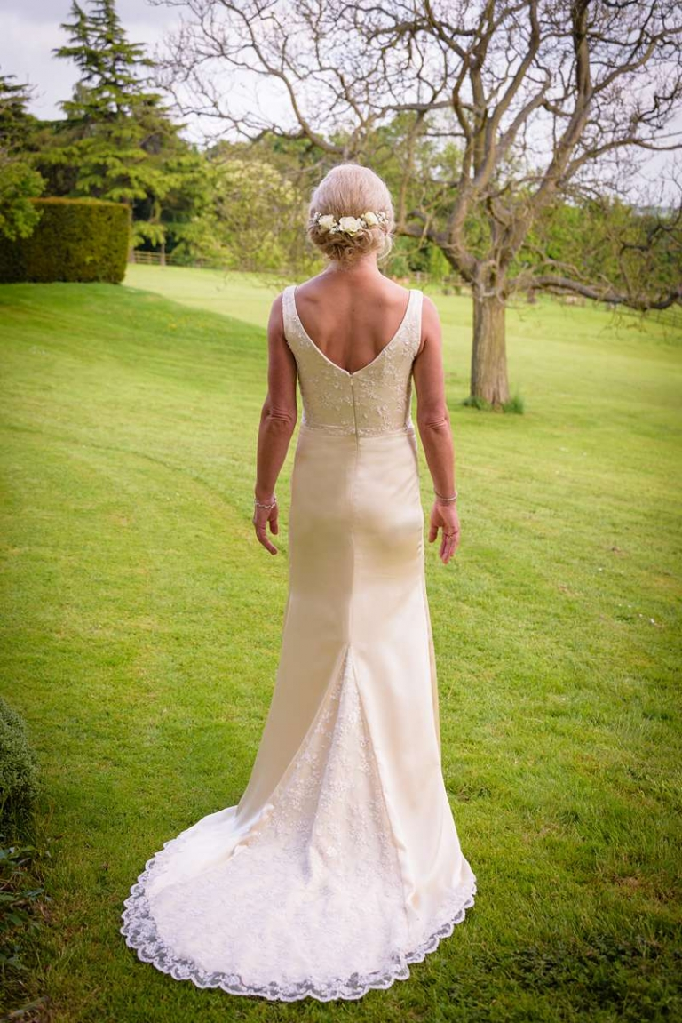 concealed zip back wedding dress with lace train