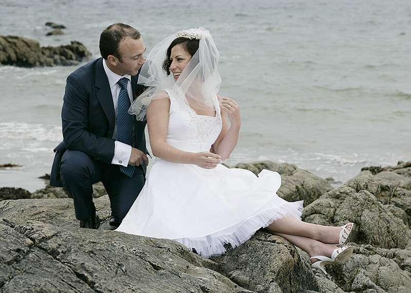 seaside bride white wedding dress made to measure