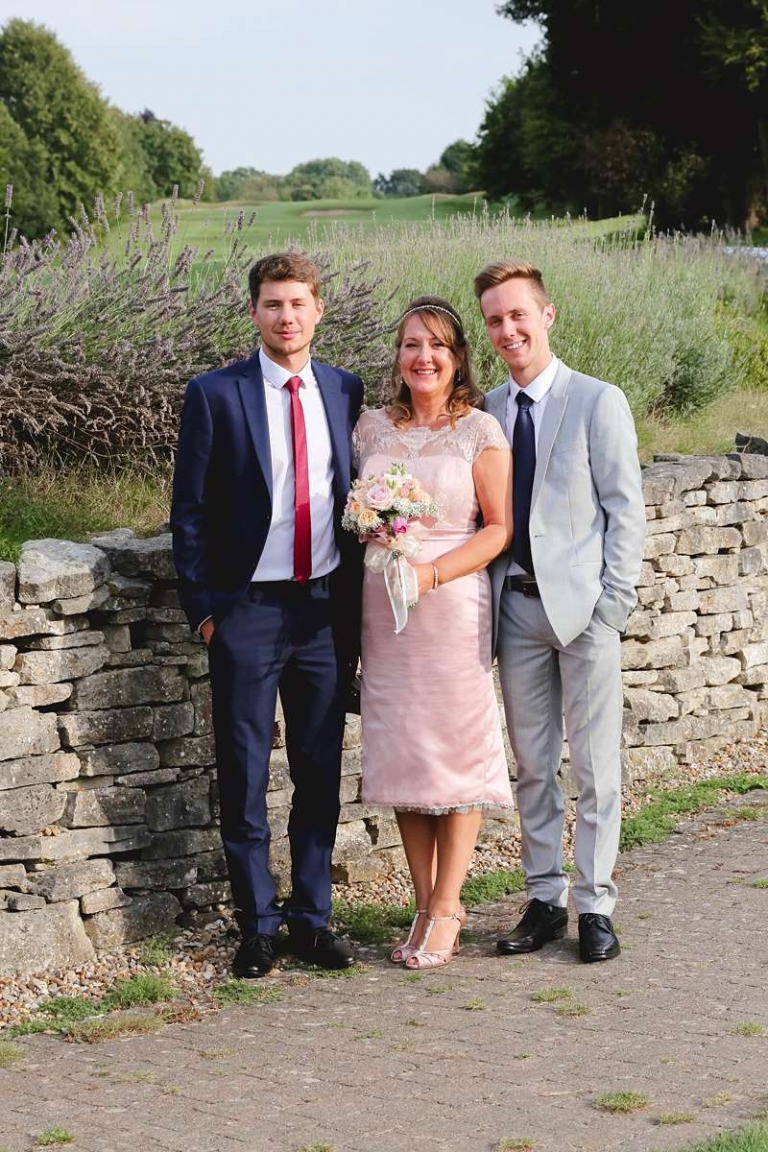 bride and her sons custom wedding dress
