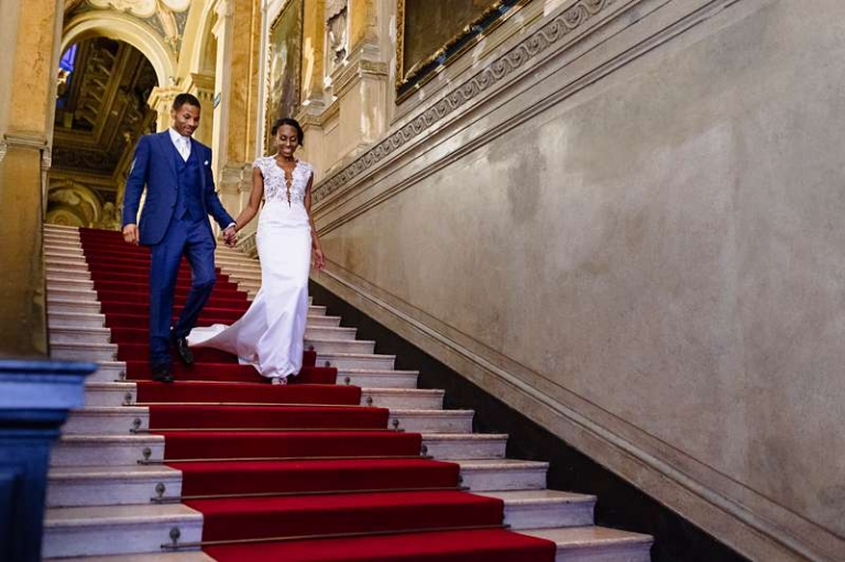 red carpet wedding dress vneck and train bespoke