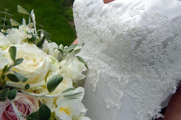 hand lace applique work on duchess satin bodice