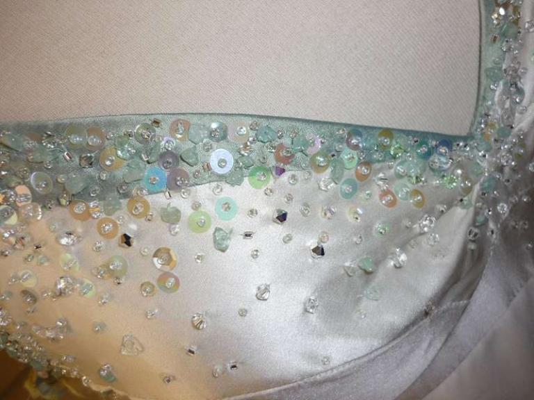 hand sewn beading sequins swarovski crystal and semi-precious stones