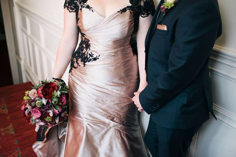 Cafe Silk And Black Lace Corset Fishtail Wedding Dress For