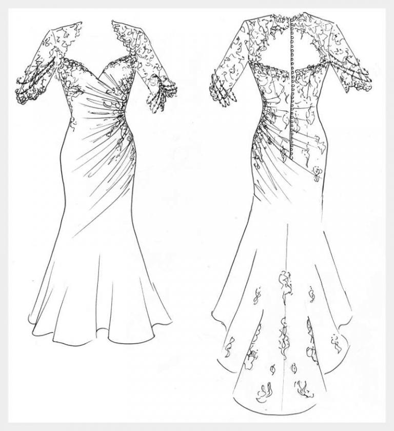 original design sketch by Felicity Westmacott ruched wedding dress