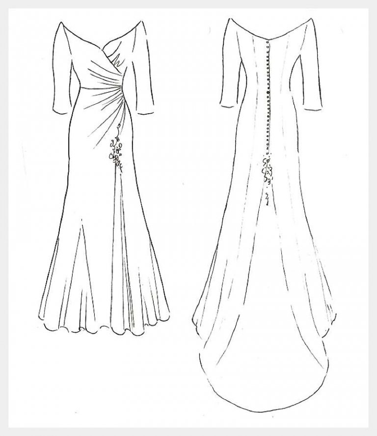 original design sketch sweethear fitted wedding dress by Felicity Westmacott