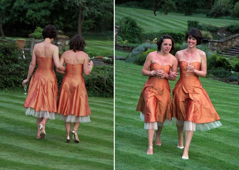 custom bridesmaid dress shot silk dupion walking on grass