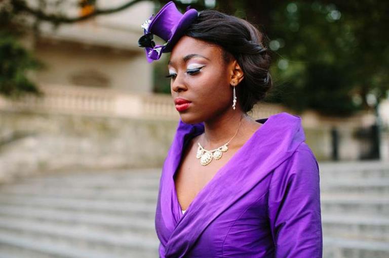 purple silk dupion wedding dress coat elegant bride and pearl necklace