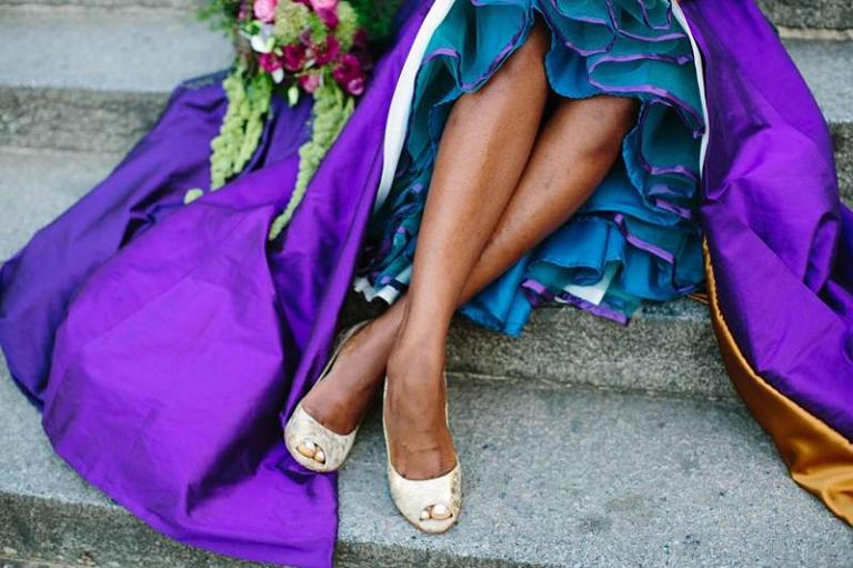 coloured wedding dress alt bride purple teal gold petticoat
