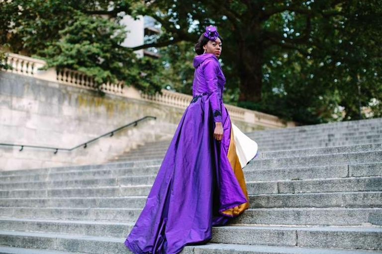 statement wedding coat bespoke purple and gold silk