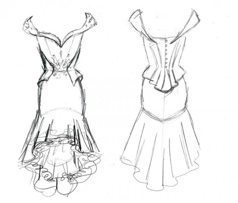 original dress design by Felicity Westmacott off the shoulder wiggle wedding dress