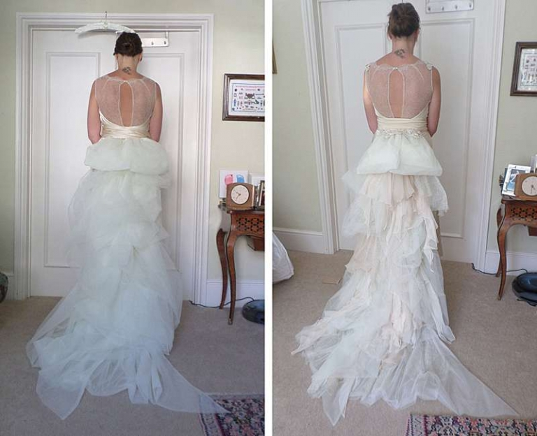 Art Deco Silk And Lace Bias Cut Wedding Dress For Katherine