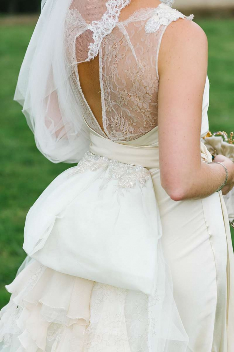 low back wedding dress with Chantilly lace