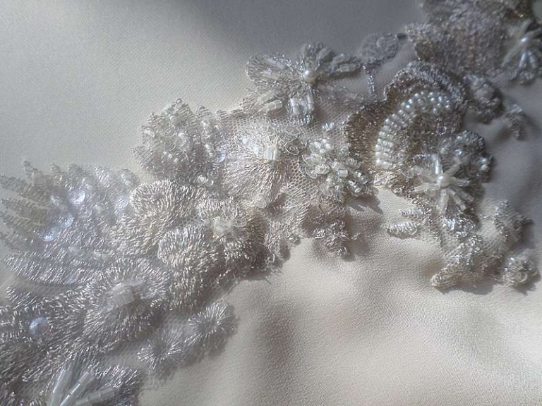 beaded lace applique detail mixed metallic