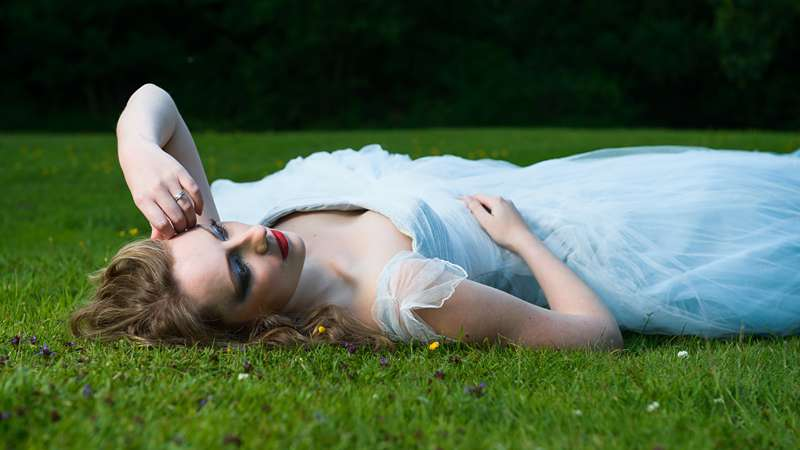 ethereal bride blue taffeta silk and tulle