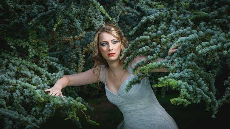 forest fairytale photoshoot bride wedding dress