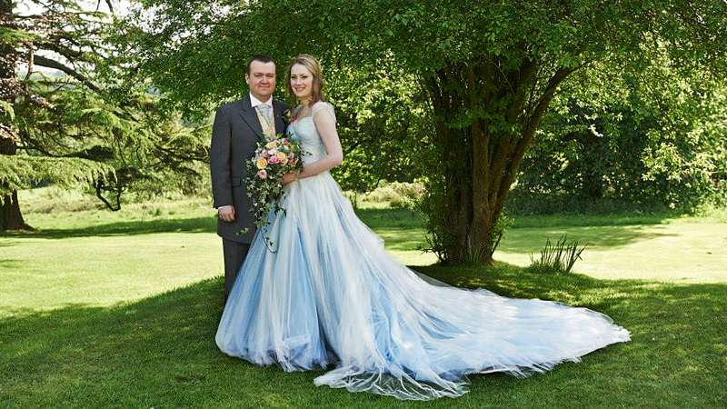 blue wedding dress country