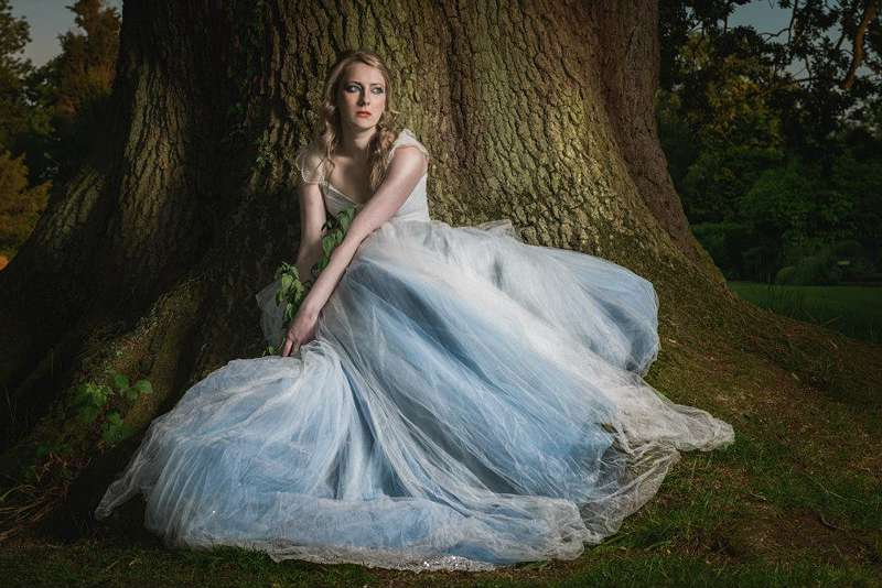storybook wedding dress blue taffeta and tulle
