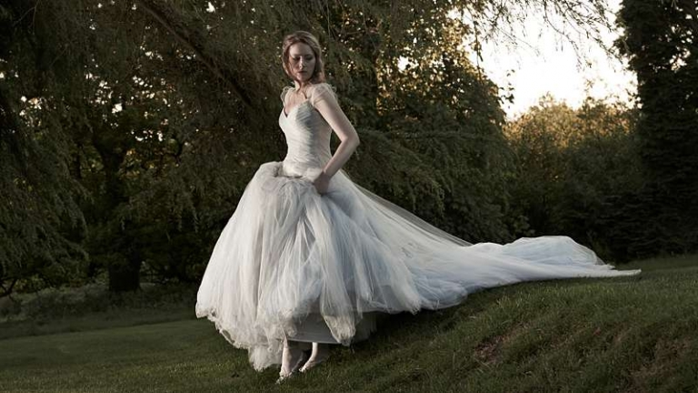 ethereal tulle full skirt wedding dress woodland