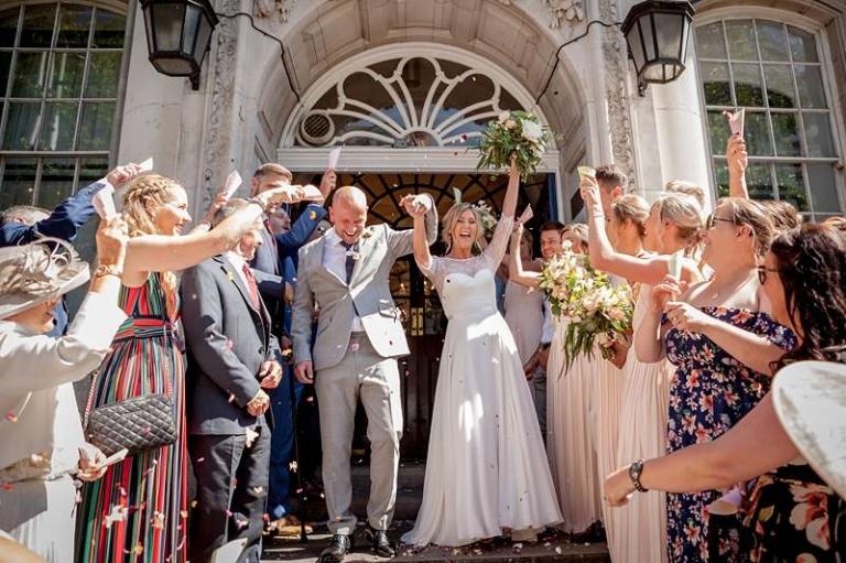 town city wedding bride ivory georgette
