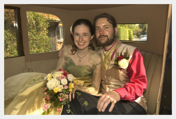 Embroidered wedding dress by Felicity Westmacott: with my new husband in the car